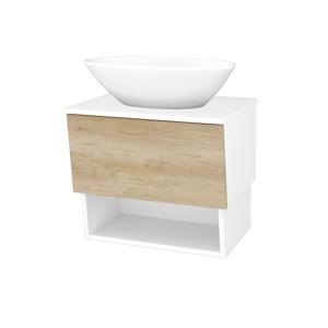 Dřevojas Koupelnová skříň INVENCE SZZO 65 (umyvadlo Triumph) N01 Bílá lesk / D15 Nebraska 178338