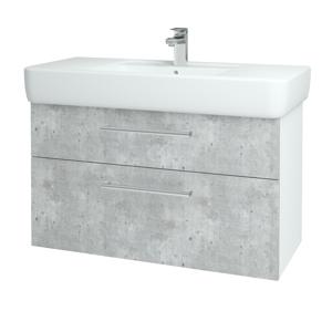 Dřevojas Koupelnová skříň Q MAX SZZ2 100 N01 Bílá lesk / Úchytka T03 / D01 Beton 131791C