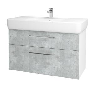 Dřevojas Koupelnová skříň Q MAX SZZ2 100 N01 Bílá lesk / Úchytka T04 / D01 Beton 131791E