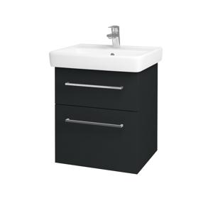 Dřevojas Koupelnová skříň Q MAX SZZ2 55 L03 Antracit vysoký lesk / Úchytka T04 / L03 Antracit vysoký lesk 60360E
