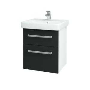 Dřevojas Koupelnová skříň Q MAX SZZ2 55 N01 Bílá lesk / Úchytka T01 / L03 Antracit vysoký lesk 61244A