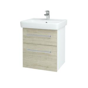 Dřevojas Koupelnová skříň Q MAX SZZ2 55 N01 Bílá lesk / Úchytka T03 / D05 Oregon 61718C