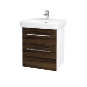 Dřevojas Koupelnová skříň Q MAX SZZ2 55 N01 Bílá lesk / Úchytka T04 / D06 Ořech 61237E