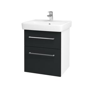 Dřevojas Koupelnová skříň Q MAX SZZ2 55 N01 Bílá lesk / Úchytka T04 / L03 Antracit vysoký lesk 61244E