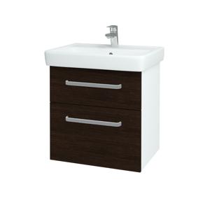 Dřevojas Koupelnová skříň Q MAX SZZ2 60 N01 Bílá lesk / Úchytka T01 / D08 Wenge 60032A