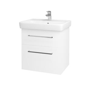 Dřevojas Koupelnová skříň Q MAX SZZ2 60 N01 Bílá lesk / Úchytka T04 / L01 Bílá vysoký lesk 60117E