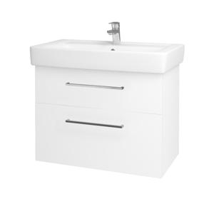 Dřevojas Koupelnová skříň Q MAX SZZ2 80 N01 Bílá lesk / Úchytka T04 / M01 Bílá mat 198633E