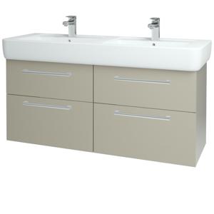 Dřevojas Koupelnová skříň Q MAX SZZ4 130 L04 Béžová vysoký lesk / Úchytka T03 / L04 Béžová vysoký lesk 144890C