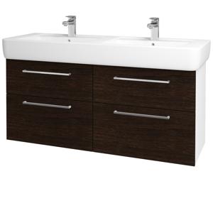 Dřevojas Koupelnová skříň Q MAX SZZ4 130 N01 Bílá lesk / Úchytka T04 / D08 Wenge 131920E