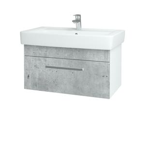 Dřevojas Koupelnová skříň Q UNO SZZ 80 N01 Bílá lesk / Úchytka T01 / D01 Beton 150815A