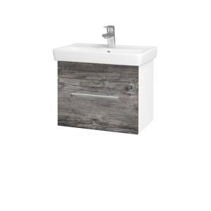 Dřevojas Koupelnová skříň SOLO SZZ 55 N01 Bílá lesk / Úchytka T02 / D10 Borovice Jackson 205508B