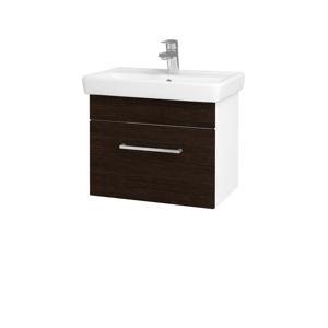 Dřevojas Koupelnová skříň SOLO SZZ 55 N01 Bílá lesk / Úchytka T04 / D08 Wenge 21163E