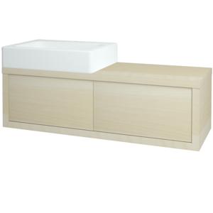 Dřevojas Koupelnová skříň STORM SZZ2 120 (umyvadlo Kube) D02 Bříza / D02 Bříza / Levé 169558