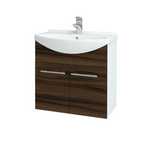 Dřevojas Koupelnová skříň TAKE IT SZD2 65 N01 Bílá lesk / Úchytka T02 / D06 Ořech 151973B