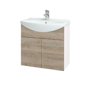 Dřevojas Koupelnová skříň TAKE IT SZD2 65 N01 Bílá lesk / Úchytka T02 / D17 Colorado 205911B