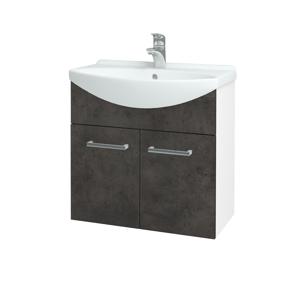 Dřevojas Koupelnová skříň TAKE IT SZD2 65 N01 Bílá lesk / Úchytka T03 / D16 Beton tmavý 205904C