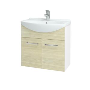 Dřevojas Koupelnová skříň TAKE IT SZD2 65 N01 Bílá lesk / Úchytka T04 / D04 Dub 151959E