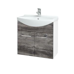 Dřevojas Koupelnová skříň TAKE IT SZD2 65 N01 Bílá lesk / Úchytka T04 / D10 Borovice Jackson 205881E