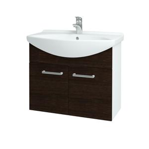 Dřevojas Koupelnová skříň TAKE IT SZD2 75 N01 Bílá lesk / Úchytka T03 / D08 Wenge 152079C
