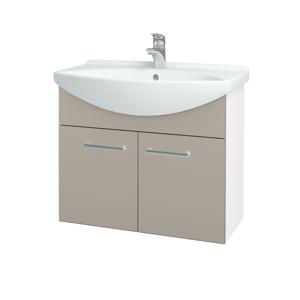 Dřevojas Koupelnová skříň TAKE IT SZD2 75 N01 Bílá lesk / Úchytka T03 / N07 Stone 206109C