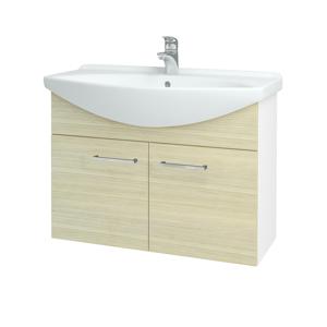 Dřevojas Koupelnová skříň TAKE IT SZD2 85 N01 Bílá lesk / Úchytka T04 / D04 Dub 152130E