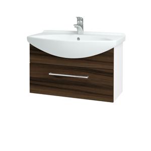 Dřevojas Koupelnová skříň TAKE IT SZZ 75 N01 Bílá lesk / Úchytka T04 / D06 Ořech 152512E