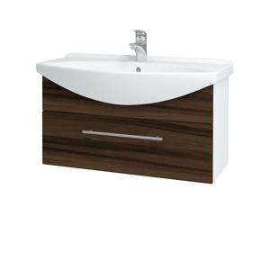 Dřevojas Koupelnová skříň TAKE IT SZZ 85 N01 Bílá lesk / Úchytka T02 / D06 Ořech 152604B