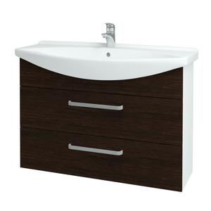 Dřevojas Koupelnová skříň TAKE IT SZZ2 105 N01 Bílá lesk / Úchytka T01 / D08 Wenge 153205A