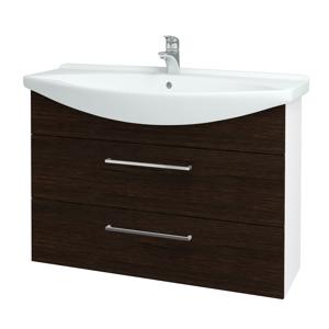 Dřevojas Koupelnová skříň TAKE IT SZZ2 105 N01 Bílá lesk / Úchytka T04 / D08 Wenge 153205E