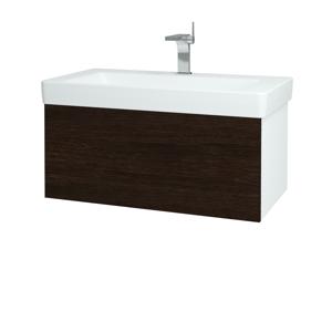 Dřevojas Koupelnová skříň VARIANTE SZZ 85 N01 Bílá lesk / D08 Wenge 163860