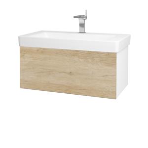 Dřevojas Koupelnová skříň VARIANTE SZZ 85 N01 Bílá lesk / D15 Nebraska 195281