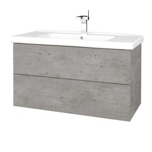 Dřevojas Koupelnová skříň VARIANTE SZZ2 100 (umyvadlo Harmonia) D01 Beton / D01 Beton 193003