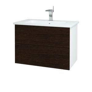 Dřevojas Koupelnová skříň VARIANTE SZZ2 80 (umyvadlo Euphoria) N01 Bílá lesk / D08 Wenge 160210