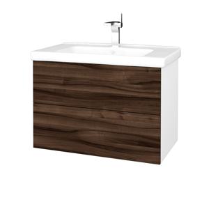 Dřevojas Koupelnová skříň VARIANTE SZZ2 80 (umyvadlo Harmonia) N01 Bílá lesk / D06 Ořech 192334