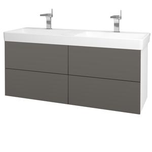Dřevojas Koupelnová skříň VARIANTE SZZ4 130 N01 Bílá lesk / N06 Lava 196271