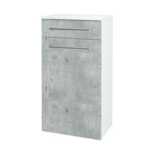 Dřevojas Skříň spodní DOS SNDKZ 50 N01 Bílá lesk / Úchytka T03 / M05 Béžová mat 211219C