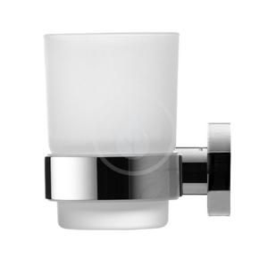 DURAVIT D-Code Pohárek na kartáčky a pastu s držákem, levý, mléčné sklo/chrom 0099191000
