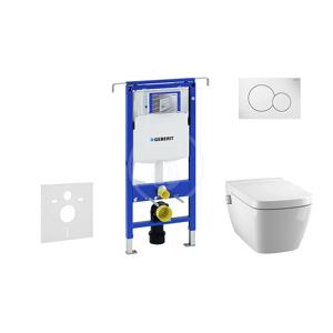 GEBERIT Duofix Modul pro závěsné WC s tlačítkem Sigma01, alpská bílá + Tece One sprchovací toaleta a sedátko, Rimless, SoftClose 111.355.00.5 NT1
