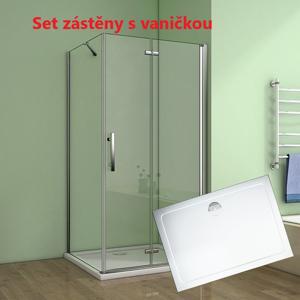 H K Obdélníkový sprchový kout MELODY 100x90 cm se zalamovacími dveřmi včetně sprchové vaničky z litého mramoru , výplň sklo čiré SE-MELODYB810090/SE-ROCKY10090-06