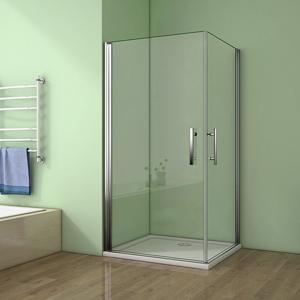 H K Sprchový kout MELODY A4 90cm se dvěma jednokřídlými dveřmi včetně sprchové vaničky, výplň sklo čiré SE-MELODYA490/THOR-90SQ-06