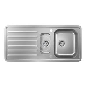 HANSGROHE Dřezy Vestavný dřez S4113-F540 s odkapávací plochou a automatickým odtokem, nerezová ocel 43339800