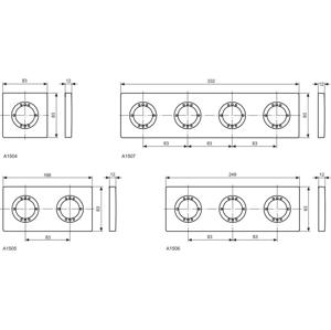 Ideal Standard ARCHIMODULE 2-otvorová rozeta 100 x 183 mm, chrom A963725AA
