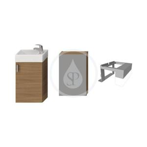 JIKA Petit Skříňka s umývátkem, zrcadlová skříňka s osvětlením, 386mm x 221mm x 585mm skříňka, korpus třešeň, dveře třešeň H4535121753081
