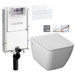 LAUFEN Podomít. systém LIS TW1 SET s bílým tlačítkem + WC JIKA PURE + SEDÁTKO SLOWCLOSE H8946630000001BI PU2