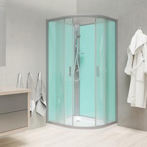 MEREO Sprchový box, čtvrtkruh, 100cm, satin ALU, sklo Point, zadní stěny zelené, litá vanička, bez stříšky CK35162M