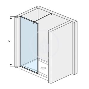 Pure Skleněná stěna boční 79,5 cm pro sprchovou vaničku 140x80 cm a 140x90 cm s úpravou Jika Perla Glass, 800mm x 200mm x 2000mm H2684200026681
