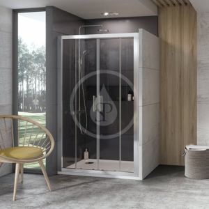 RAVAK 10° Sprchové dveře čtyřdílné 10DP4-130, 1300 mm, bílá/sklo 0ZKJ0100Z1