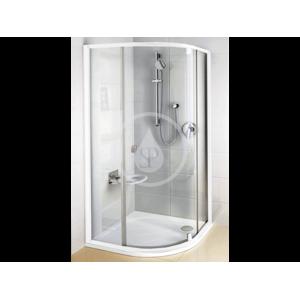 RAVAK Pivot Čtvrtkruhový sprchový kout pivotový třídílný PSKK3 90, šířka 870-895 mm x 870-895 mm, rádius 500 mm barva bílá/chrom, sklo transparent 37677100Z1