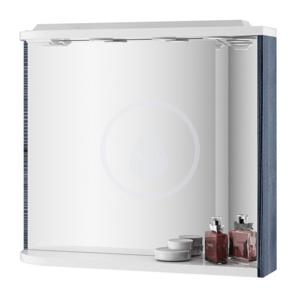 RAVAK Praktik Zrcadlo s poličkou, integrovanými světly a zásuvkou M 780, 780 x 160 x 680 mm zrcadlo pravé, bříza/bílá X000000161