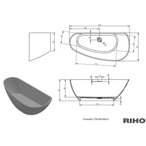RIHO GRANADA vana litá 170x80 bílá, bez noh, volně stojící BS18005 BS1800500000000